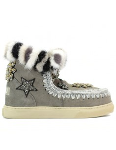 Mou - Ancle boots Eskimo sneaker star patch & mink fur trim