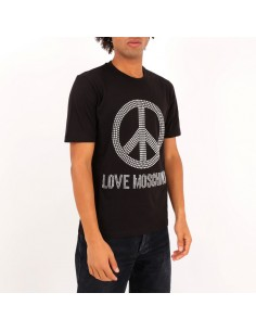 Love Moschino - T-shirt con logo borchiato