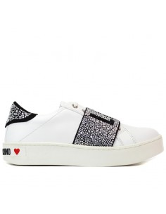UMA PARKER Sneakers slip on laminate con perle applicate GOLD S