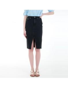 Calvin Klein Jeans - Gonna in jeans a vita alta con logo
