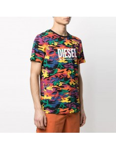Diesel - Multicolo camouflage t-shirt with logo