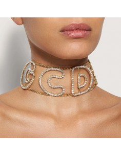GCDS - Choker logo with strass